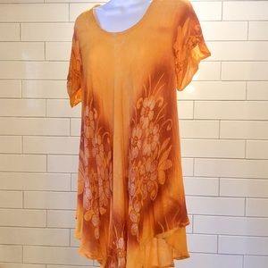 Orange and yellow gold swing blouse one size